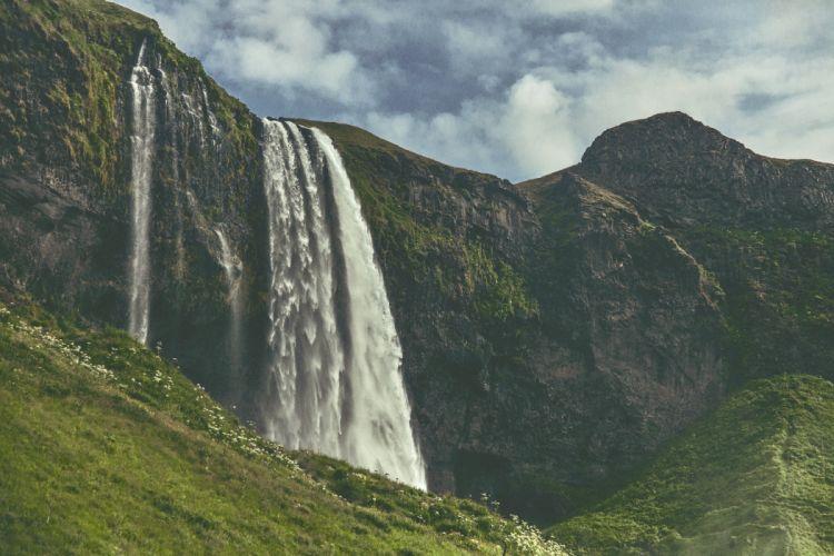 waterfall river cascade nature wallpaper