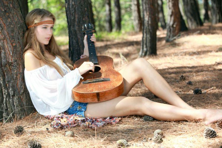 beautiful girl female women woman sexy babe model adult blonde guitar music g wallpaper
