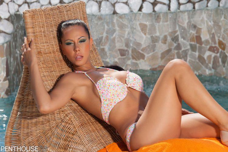 beautiful girl female women woman sexy babe model adult brunette bikini v wallpaper