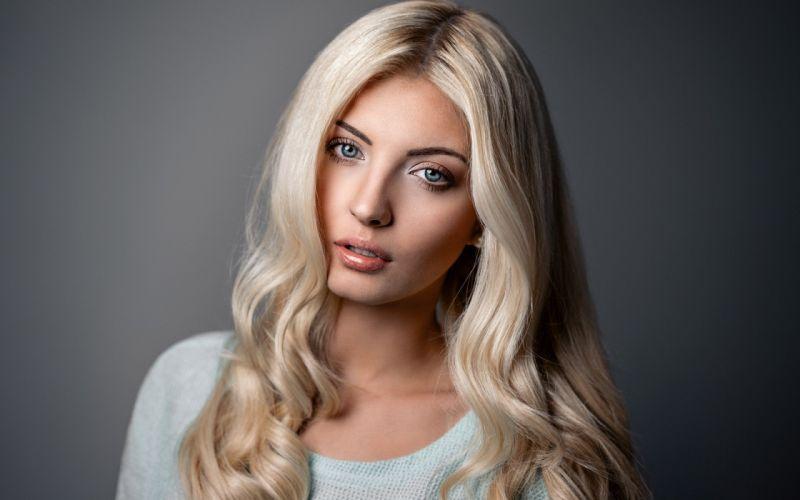 beautiful girl female women woman sexy babe model blonde face wallpaper