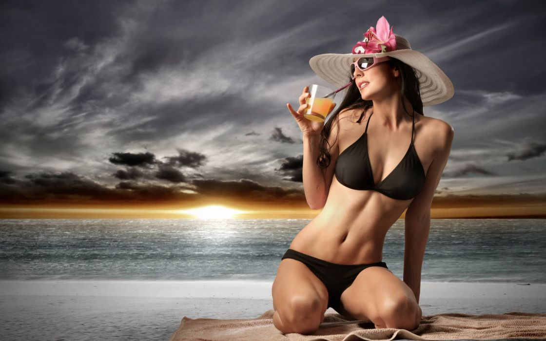 beautiful girl female women woman sexy babe model brunette bikini g wallpaper