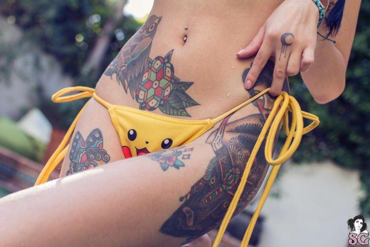beautiful girl female women woman sexy babe model adult brunette tattoo bikini pokemon h wallpaper
