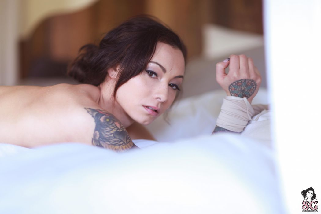 beautiful girl female women woman sexy babe model adult brunette tattoo face g wallpaper