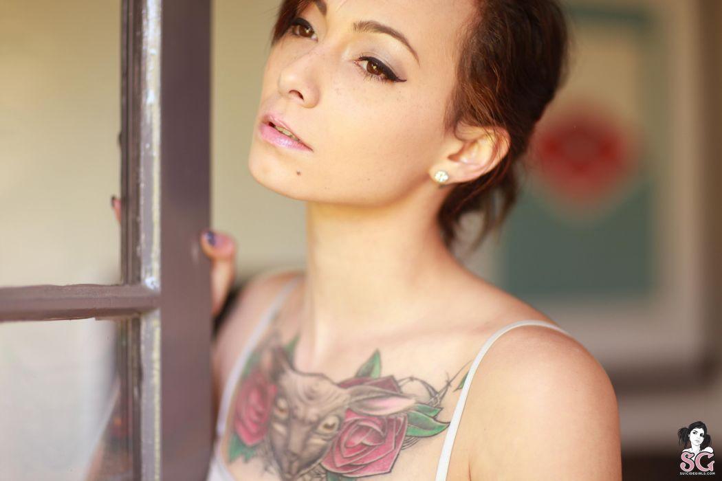 beautiful girl female women woman sexy babe model adult brunette tattoo face b wallpaper