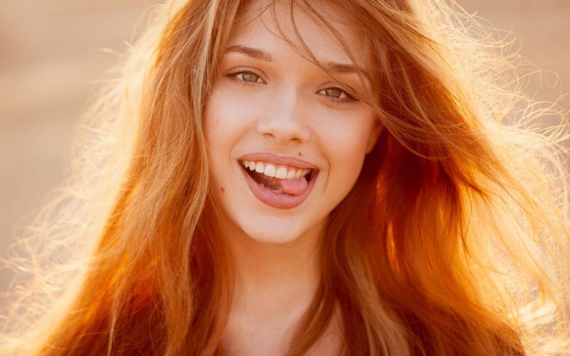 beautiful girl female women woman sexy babe model redhead face c wallpaper