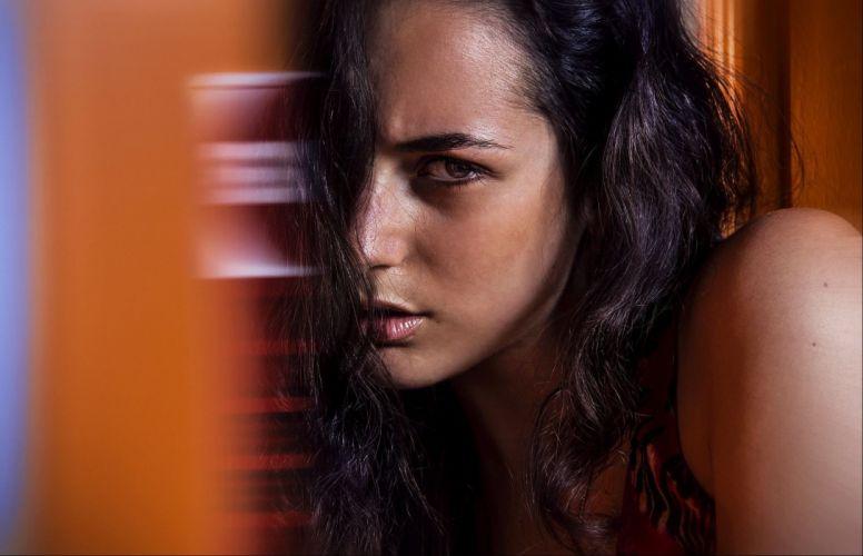 beautiful girl female women woman sexy babe model brunette face g wallpaper