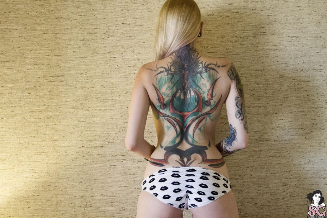 beautiful girl female women woman sexy babe model adult blonde tattoo f wallpaper