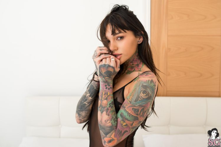 beautiful girl female women woman sexy babe model adult brunette tattoo v wallpaper
