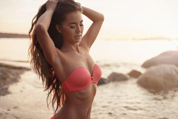 beautiful girl female women woman sexy babe model adult redhead bikini f wallpaper