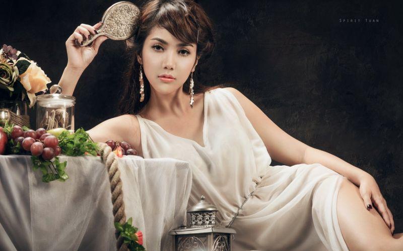 beautiful girl female women woman sexy babe model brunette asian oriental b wallpaper