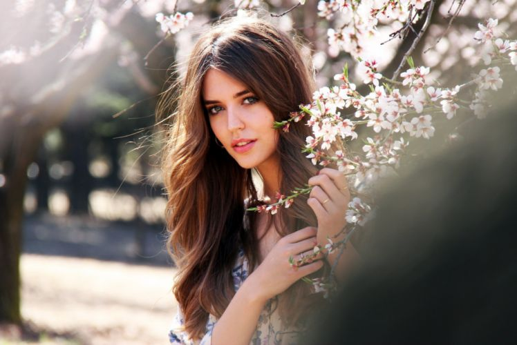 beautiful girl female women woman sexy babe model brunette face wallpaper