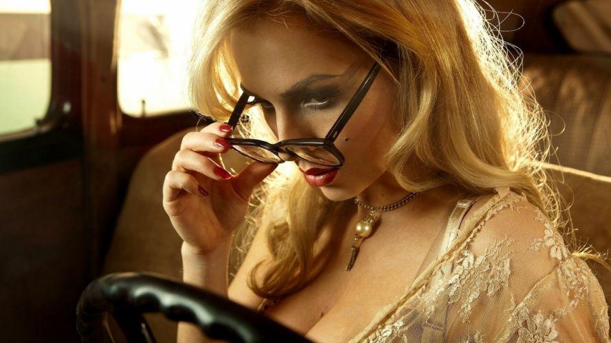 beautiful girl female women woman sexy babe model adult blonde glasses mood g wallpaper