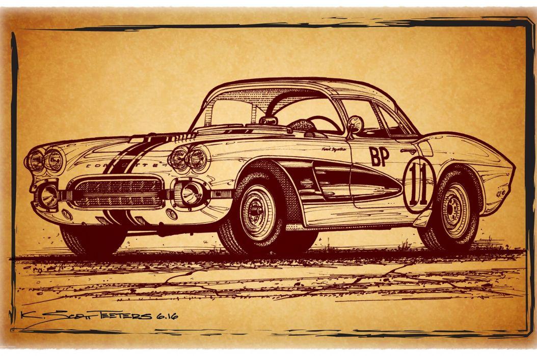 1961 Gulf Oil Corvette Racer muscle classic hot rod rods hotrod custom chevy chevrolet race racing wallpaper