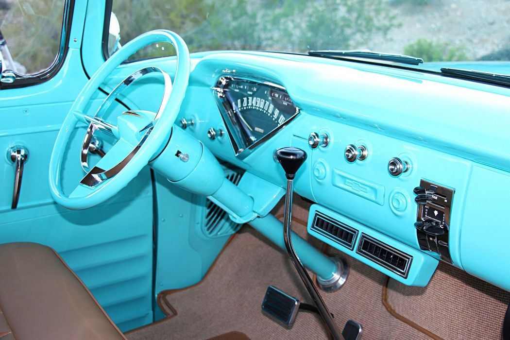 1956 Chevrolet 3100 truck pickup classic blue wallpaper