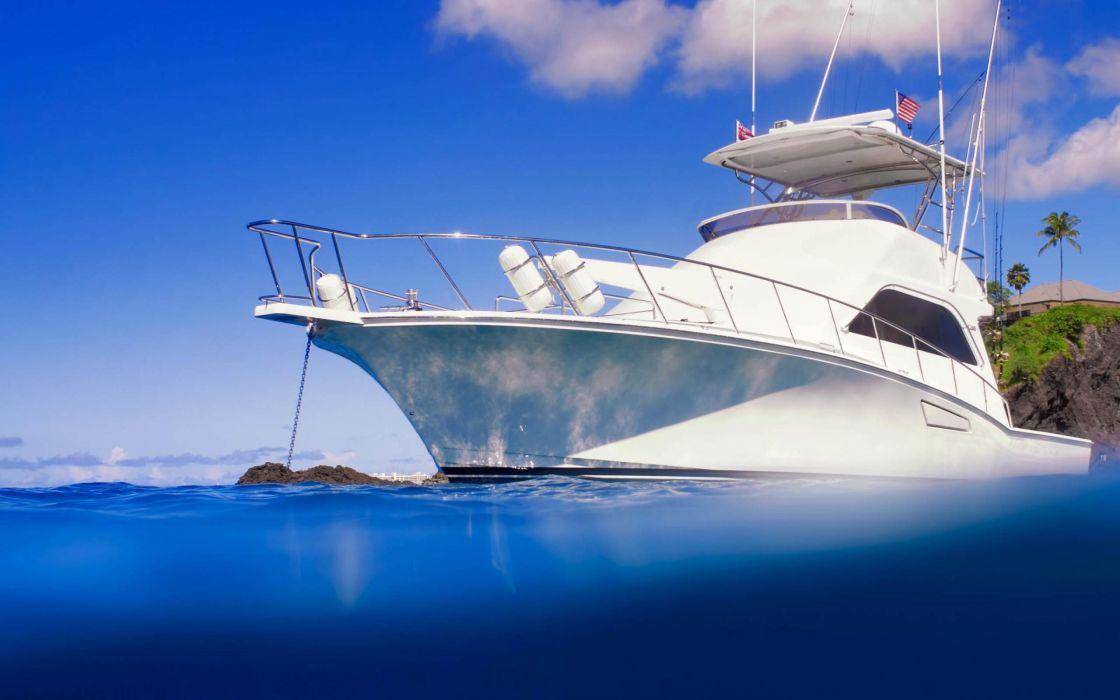 yate lujo barco blanco wallpaper