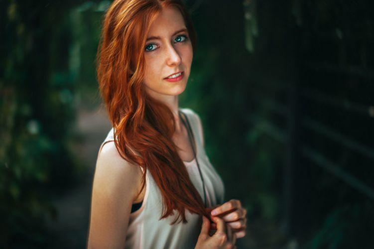 beautiful girl female women woman sexy babe model redhead d wallpaper