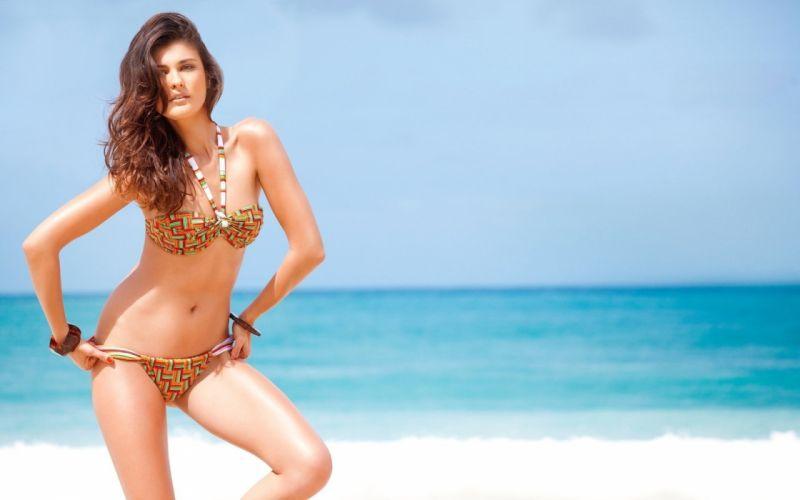 beautiful girl female women woman sexy babe model brunette bikini d wallpaper