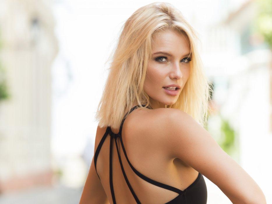 beautiful girl female women woman sexy babe model blonde face d wallpaper