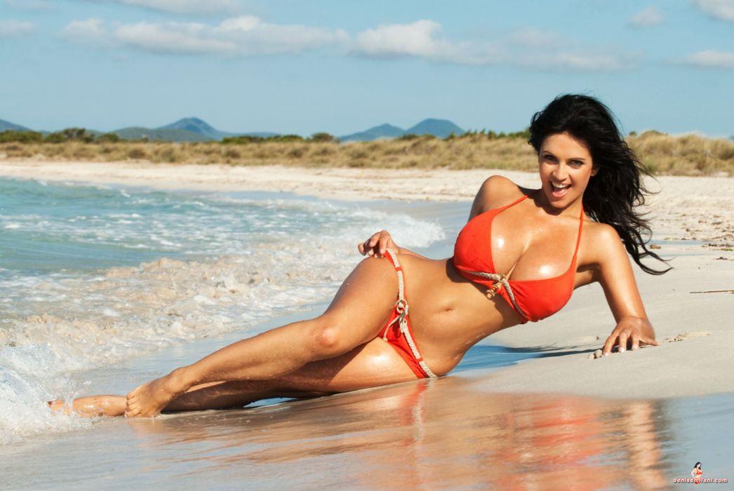 beautiful girl female women woman sexy babe model adult brunette bikini c wallpaper