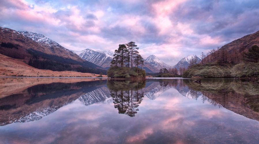 Scotland highlands Glen Etive mountains sunset lake trees landscape wallpaper