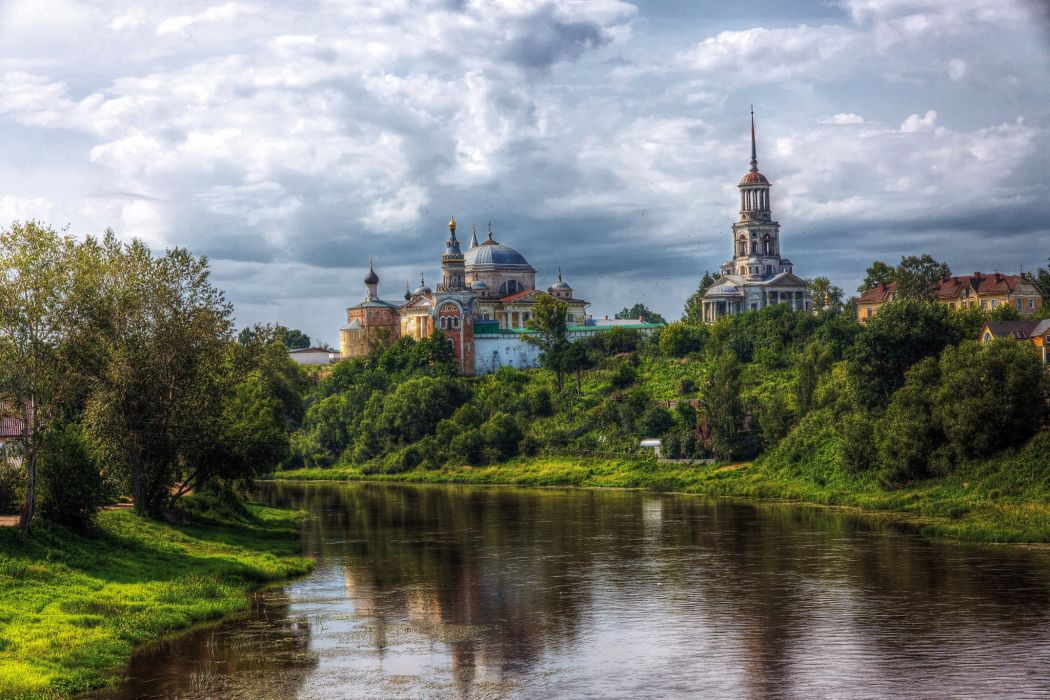 Boris and Gleb Cathedral Monastery in Torzhok landscape f wallpaper