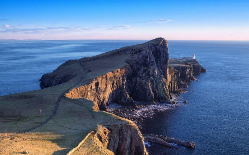 Neist Point Lighthouse Lighthouse Isle of Skye Scotland wallpaper