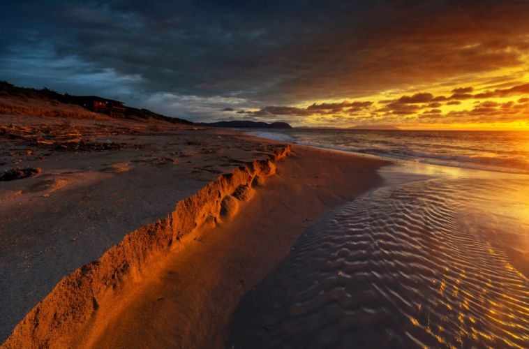 Coast Sunrises and sunsets Sand Beach Nature wallpapers wallpaper
