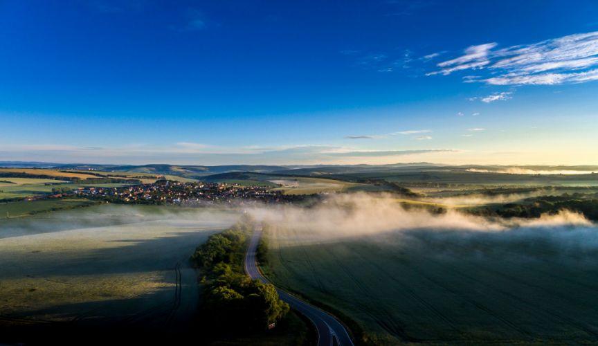 Czech Republic Scenery Fields Sky Roads Fog Sucha Loz Nature wallpapers wallpaper