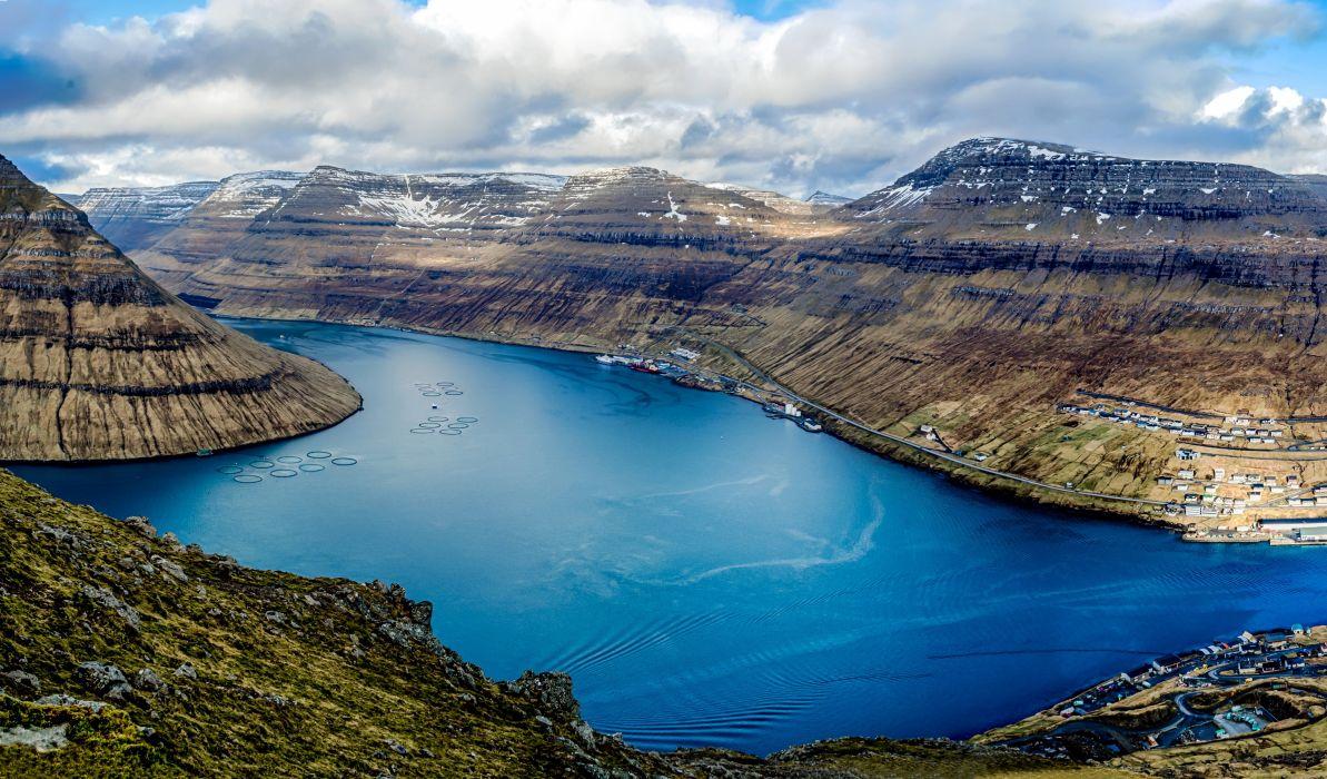 Denmark Lake Mountains Clouds Klaksvik Faroe Islands Nature wallpapers wallpaper