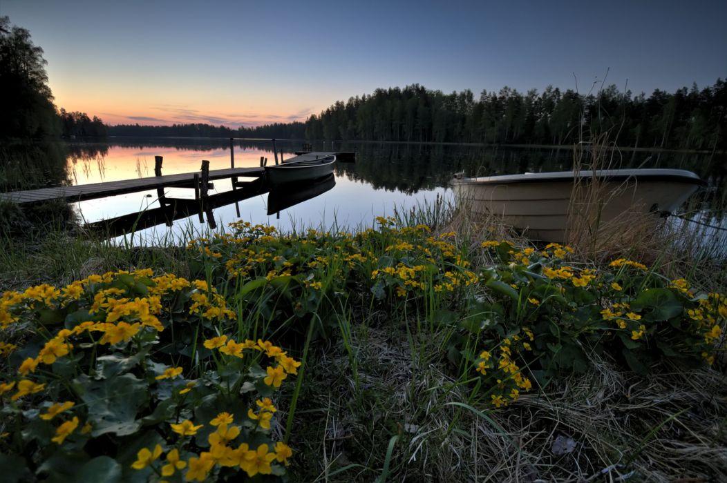 Finland Lake Evening Marinas Boats lake Lummenne Nature wallpapers wallpaper