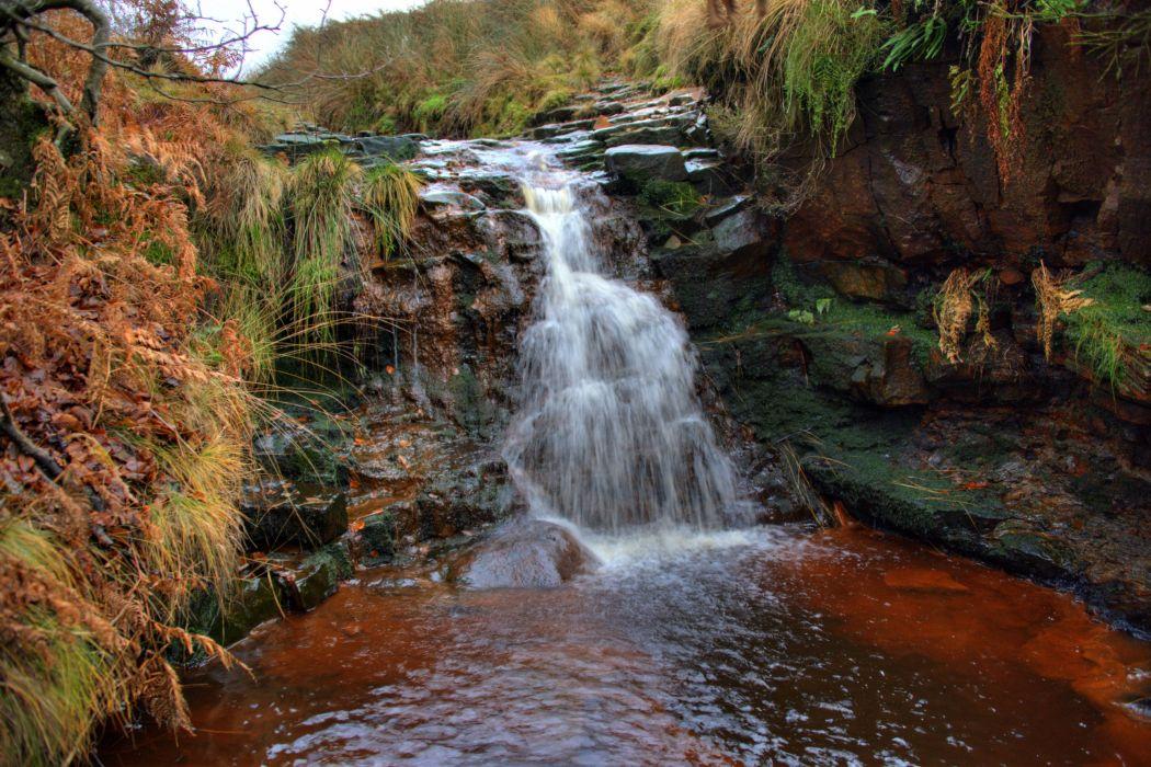 England Waterfalls Crag Moss Rivington Nature wallpapers wallpaper