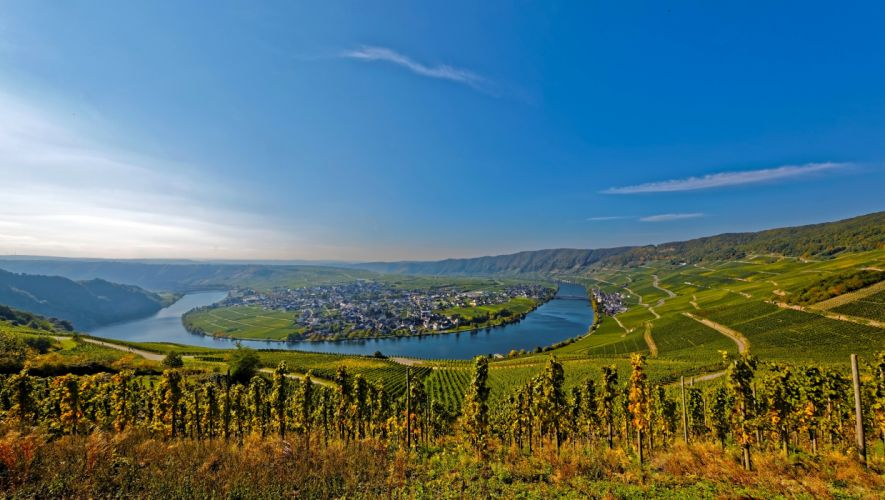 Germany Scenery Rivers Sky Fields Houses Piesport Nature wallpapers wallpaper