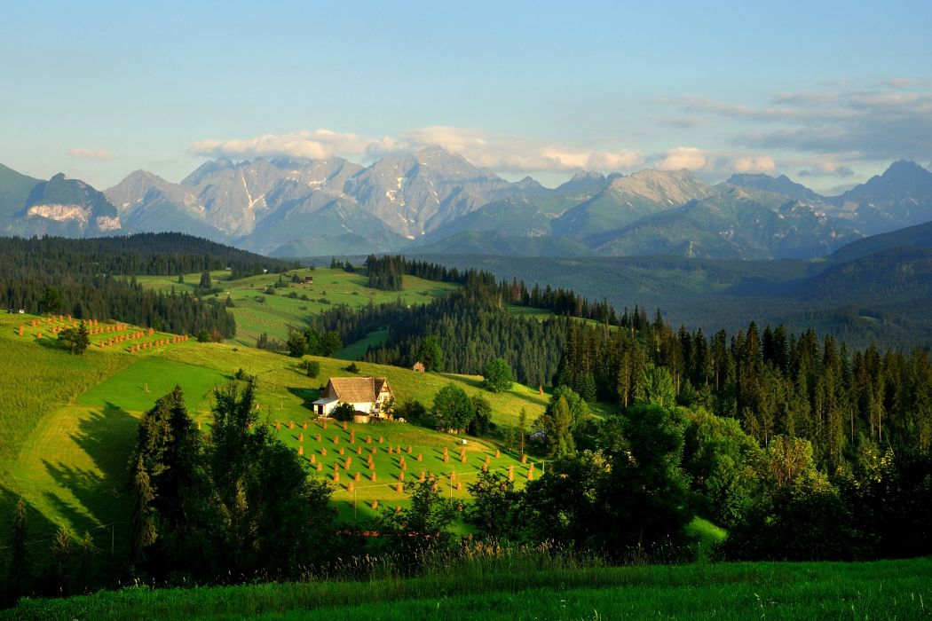 Poland Scenery Mountains Fields Houses Forests Grasslands Tatra Mountains Nature wallpapers wallpaper
