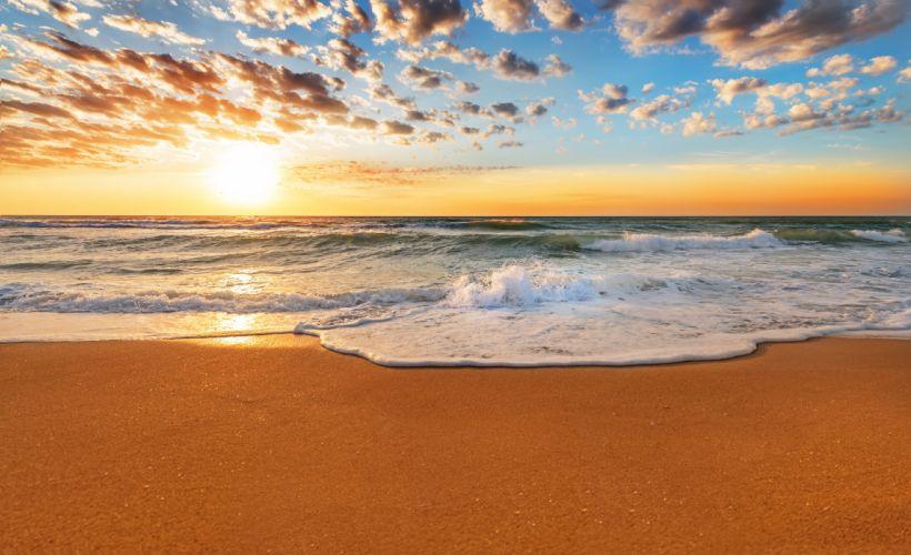 Sky Sunrises and sunsets Sea Ocean Sun Beach Clouds Nature wallpapers wallpaper
