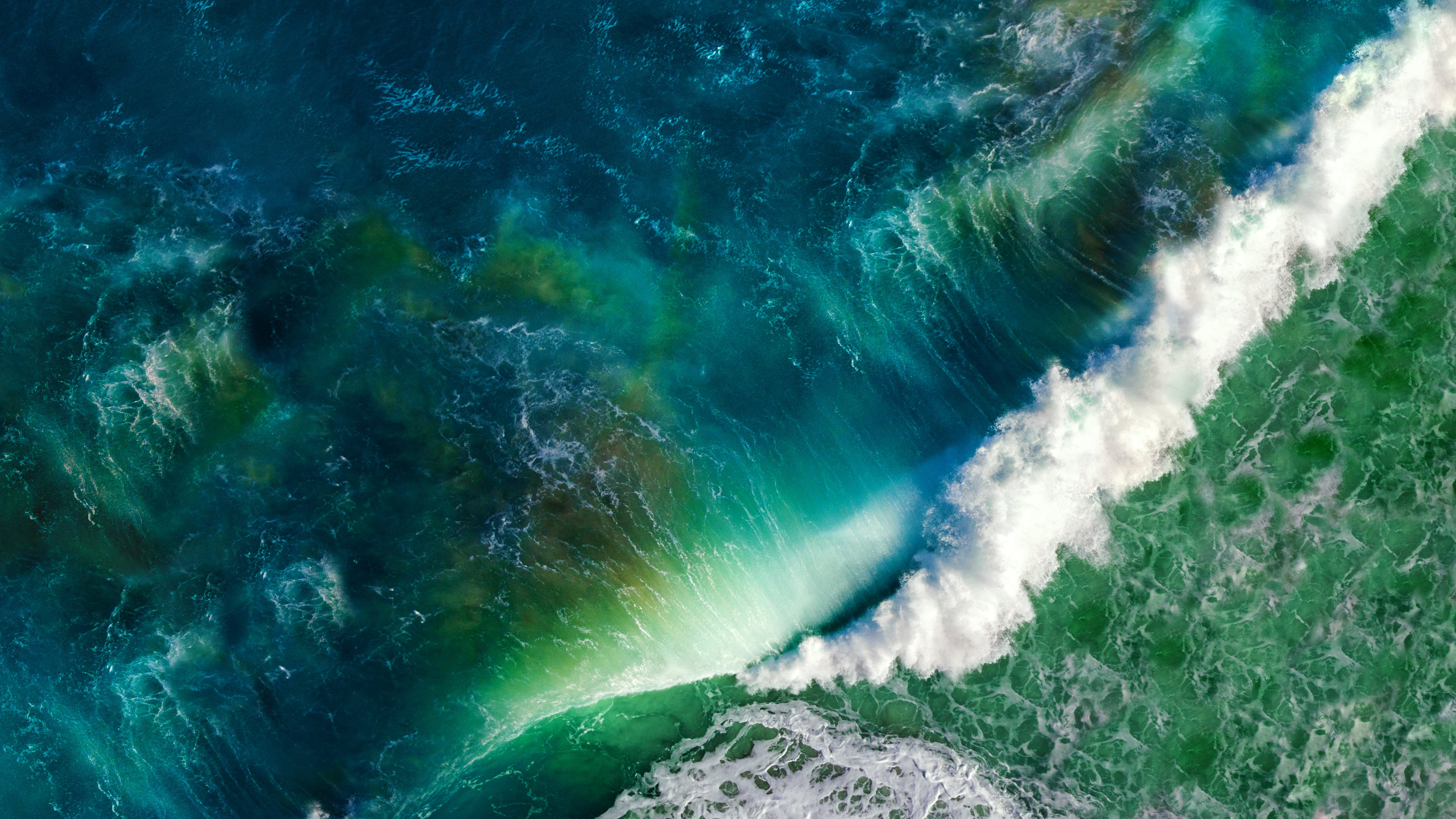 Sea Ocean Waves From Above Ios Apple Mac Nature Wallpapers