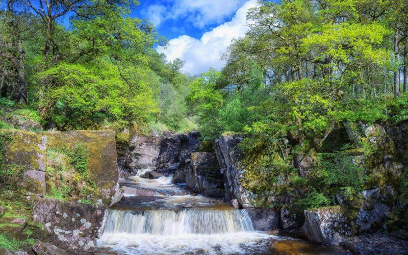Trossachs National Park Scotland waterfall landscape wallpaper
