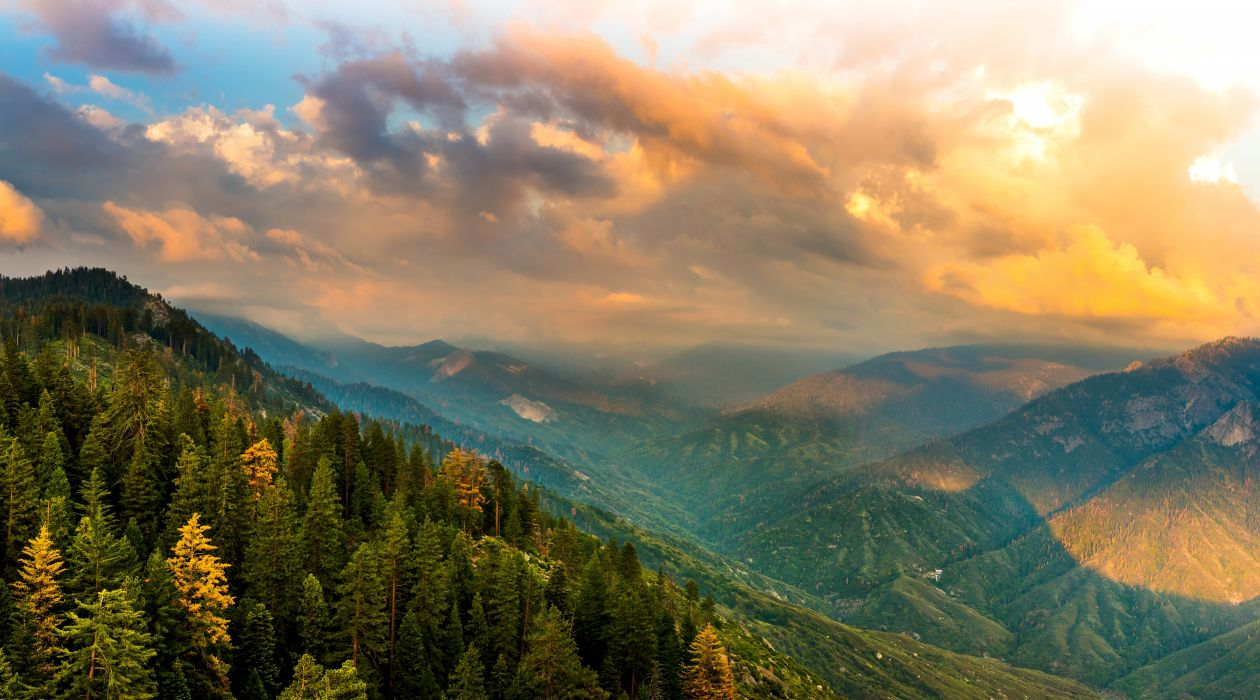 USA Parks Scenery Mountains Forests California Clouds Kings Canyon National Park Nature wallpapers wallpaper