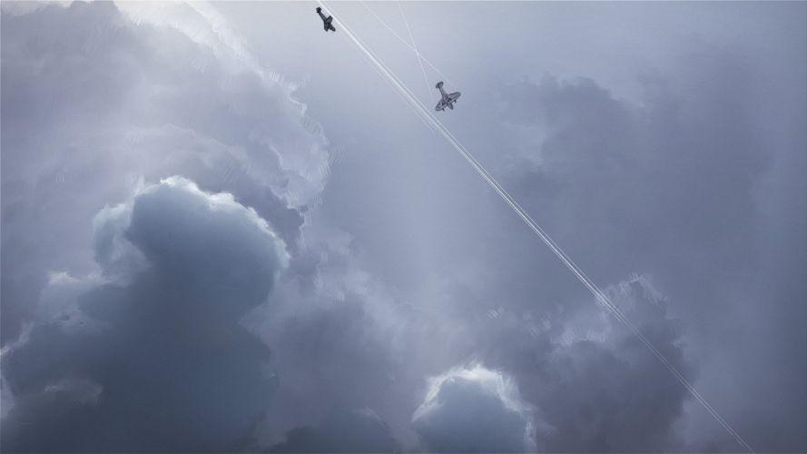 Airplane Plane Clouds Drawing Digital Artwork military wallpaper