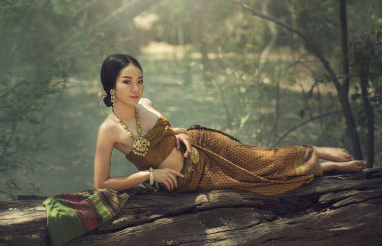 Asian Skirt Brunette wallpaper