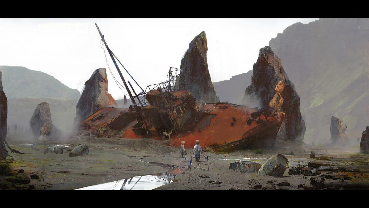 Boat Children Drawing Beached Abandon Deserted Digital Artwork wallpaper