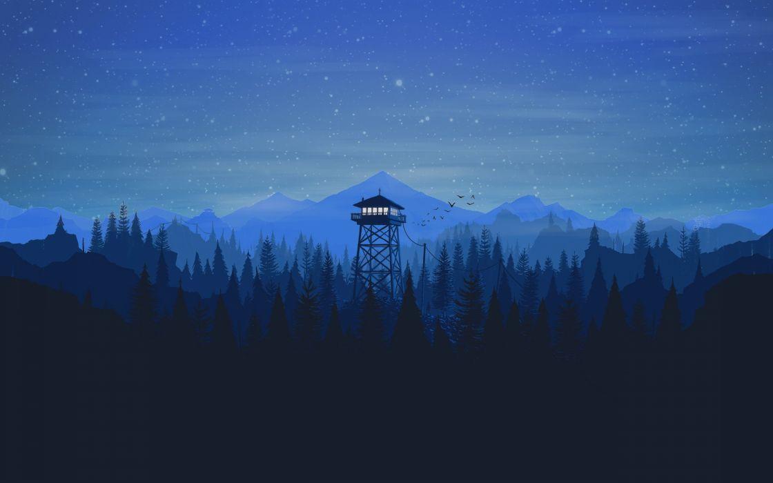 Firewatch Night Stars Tower forest wallpaper