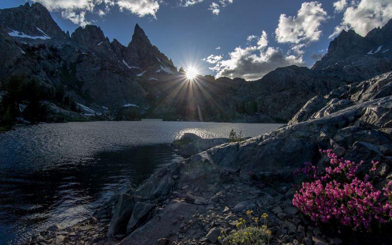 Mountains Landscape Sunlight Clouds Lake Rocks Stones wallpaper