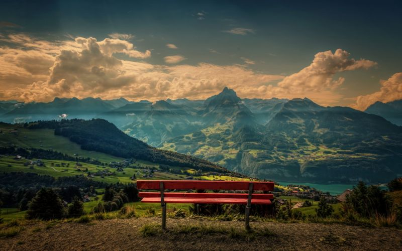 Mountains Landscape Clouds Bench wallpaper