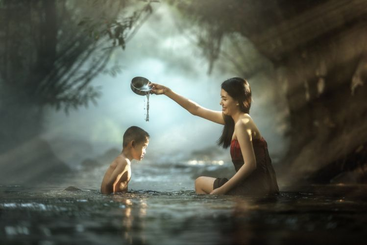 River Child Brunette Water People asian wallpaper