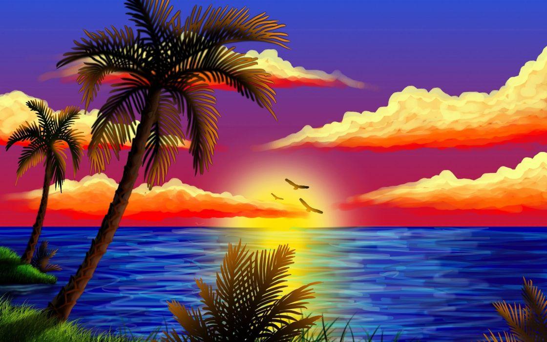 Sunset Sea Palms wallpaper
