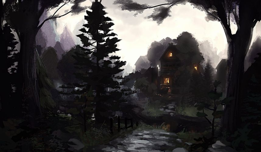 House Trees Drawing Forest Digital Artwork wallpaper
