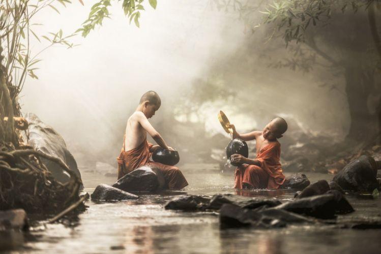 Children River Sunlight Forest People asian f wallpaper
