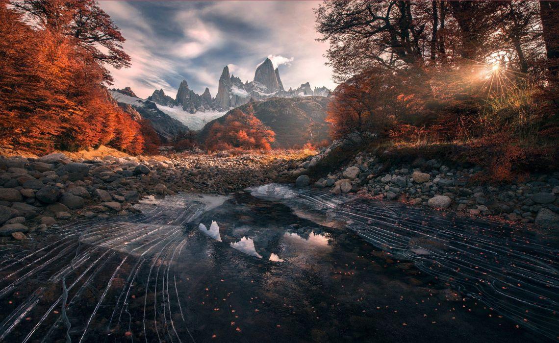 Mountains Landscape Trees Sunlight Reflection Frozen Pond Nature wallpaper