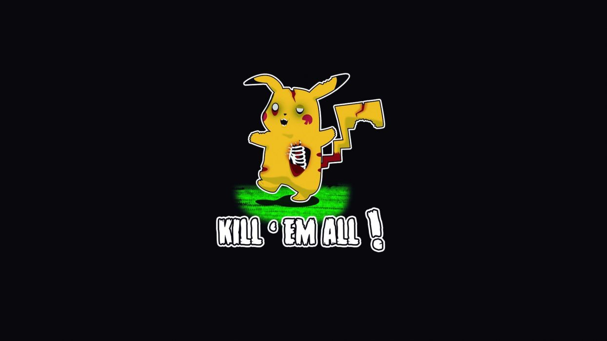 Pokemon Pikachu Black Zombie Humor Wallpaper