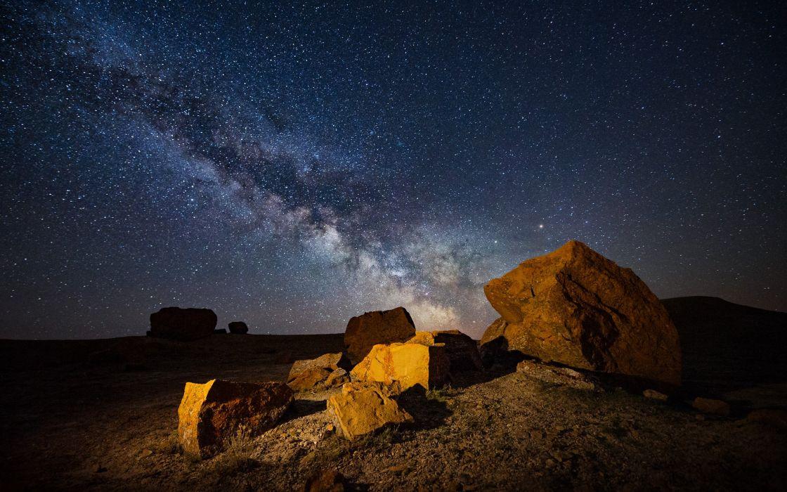 Rocks Stones Night Stars Galaxy Milky Way Nature wallpaper